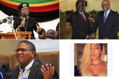 Top-left: Zimbabwean First Lady, Grace Mugabe. Top-right: Presidents Robert Mugabe and Jacob Zuma Bottom-left: Minister of Police Fikile Mbalula. Bottom-right: Model Model Gabriella Engels.