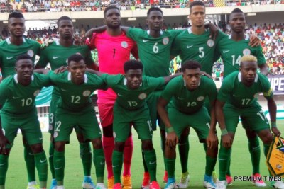 The Super Eagles squad for the 2019 AFCON qualifying match against Bafana Bafana of South Africa, in Uyo.