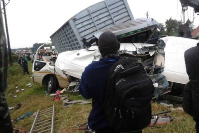The wreckage from the accident was still at the scene on Monday morning.