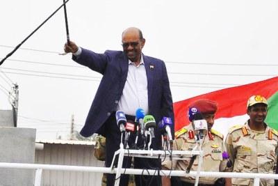 Al-Bashir addresses a mass public rally in Nyala