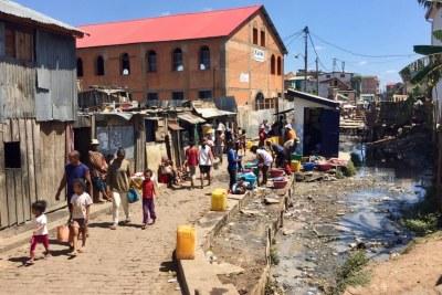 Quartier des 67 hectares, proche du centre-ville d'Antananarivo, à Madagascar.
