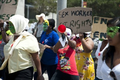 Demanding rights for sex workers.