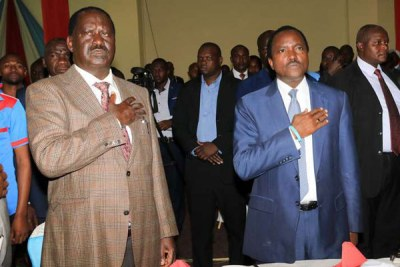 Raila Odinga and his running mate Kalonzo Musyoka.