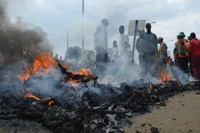 Youths protesting in Kisumu (file photo).