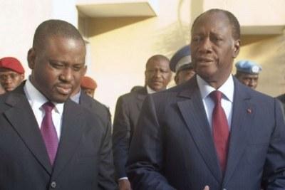 (Photo d'archives) - Alassane Ouattara et Guillaume Soro (à gauche), alliés d'hier, sont devenus ennemies aujourd'hui