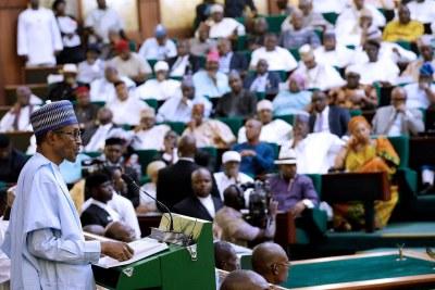 President Muhammadu Buhari presents national budget (file photo).