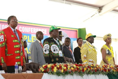 From left: Vice President Phelekezela Mphoko, former vice president Emmerson Mnangagwa, President Robert Mugabe and First Lady Grace Mugabe (file photo).