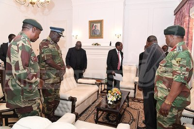Service chiefs and President Robert Mugabe.