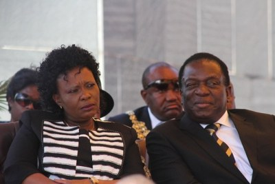 First Lady Auxillia Mnangagwa and President Emmerson Mnangagwa (file photo).