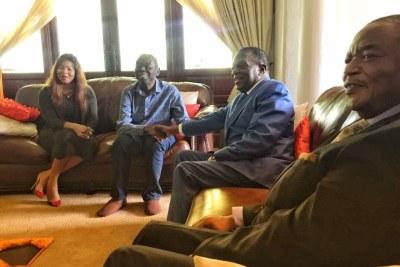 Mnangagwa visits ill Tsvangirai.