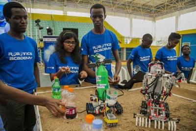 Students at a robotics camp (file photo).