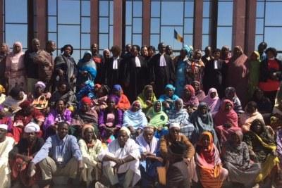 Victimes et avocats au procès des agents de l'appareil répressif du régime Habré, N'djaména, Tchad, janvier 2015.