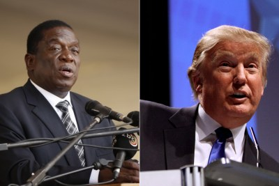 Presidents Emmerson Mnangagwa and Donald Trump (file photo).