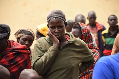 Mt Elgon residents who fled the attacks and took refuge at Kapkirongo Primary School in Bungoma County on February 28, 2018.