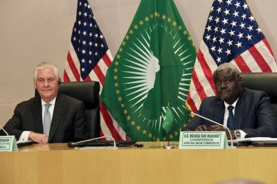 U.S. Secretary of State Rex Tillerson and African Union Commission Chairperson Moussa Faki Mahamat participate in a press availability at the African Union Commission Headquarters in Addis Ababa, Ethiopia on March 8, 2018. [State Department photo/ Public Domain]