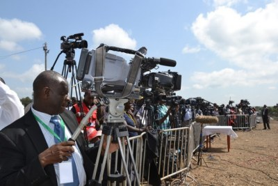 Local and foreign journalists cover a church function at Dedan Kimathi University (file photo).