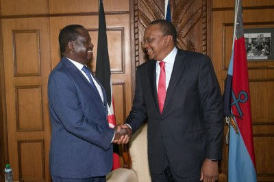 Nasa leader Raila Odinga and President Uhuru Kenyatta when they met at Harambee House in Nairobi on March 9, 2018.