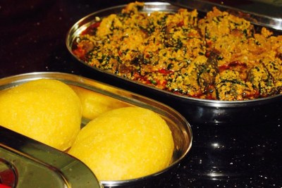 Eguisi soup and eba.