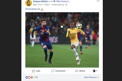 A lot of the furious feedback was posted on Billiat's Facebook page after the forward posted a picture from the big match in which he out-sprinted Barcelona defender Gerard Pique and attached a caption that read,