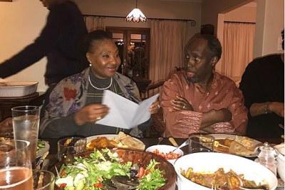 South African singer Yvonne Chaka Chaka with Kenyan Ngugi wa Thiongo.