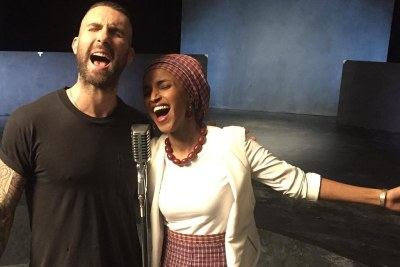 Maroon 5's single shows frontman, Adam Levine with Somali-American Legislator Ilhan Omar.