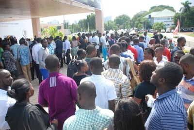 Crowd at the Accra International Conference center to view the video.Photo.Ebo Gorman