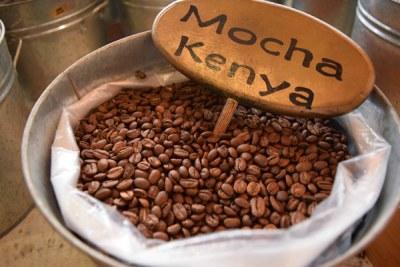 Kenya coffee on display.