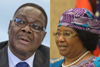 Malawi President Peter Mutharika and former Malawi President Joyce Banda.