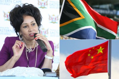 Left: Foreign Affairs Minister Lindiwe Sisulu. Top-right: South African flag. Bottom-right: Chinese flag.