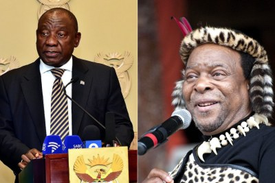 Left: President Cyril Ramaphosa. Right: Zulu King Goodwill Zwelithini.