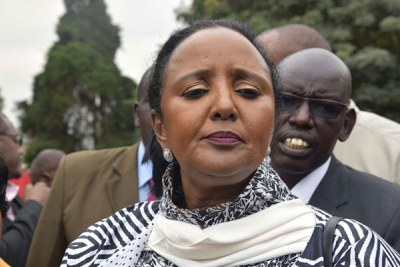 Education Cabinet Secretary Amina Mohamed speaks to reporters during the launch of a board of management manual at the Kenya Education Management Institute in Nairobi.