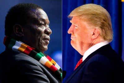 Zimbabwe President Emmerson Mnangagwa and U.S. President Donald Trump (file photo).