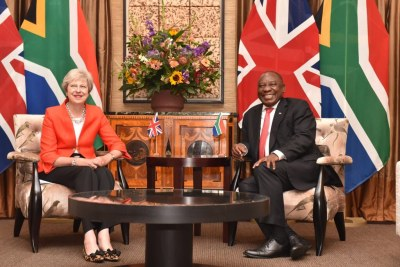 UK Prime Minister Theresa May and South African President Cyril Ramaphosa.