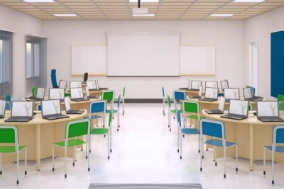 An artistic impression of a smart classroom with laptops.