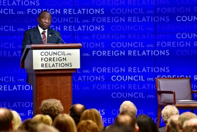 President Ramaphosa addressing the Council on Foreign Relations meeting, at the Council offices in New York.  The Council on Foreign Relations (CFR) is an independent, nonpartisan membership organization, think tank, and publisher dedicated to being a resource for its members, government officials, business executives, journalists, educators and students, civic and religious leaders, and other interested citizens in order to help them better understand the world and the foreign policy choices facing the United States and other countries.
