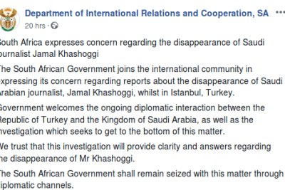 The South African Department of International Relations and Cooperation's Facebook statement about the disappearance of Saudi journalist Jamal Khashoggi.