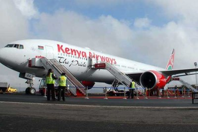 A Kenya Airways plane at Jomo Kenyatta International Airport, Nairobi.