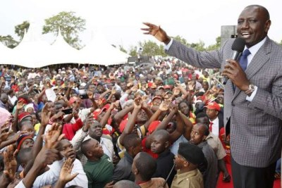 Deputy President William Ruto addresses residents of Vihiga (file photo).