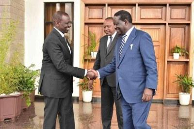 President Uhuru Kenyatta (centre), Deputy President William Ruto (left) and ODM leader Raila Odinga (file photo).