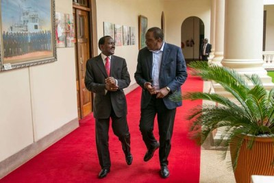 President Uhuru Kenyatta (right) with Wiper party leader Kalonzo Musyoka at State House, Nairobi, on Tuesday, October 9, 2018.