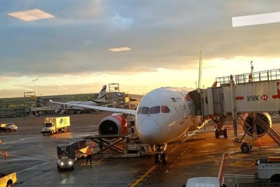 Kenya Airways plane pictured at the John F. Kennedy International Airport in New York, the United States after landing on October 29, 2018.