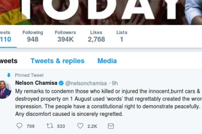Nelson's Chamisa's apology on Twitter.