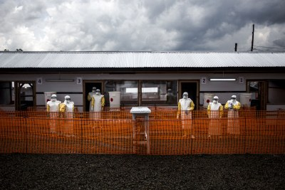 Health workers are seen inside the red zone at a newly build MSF supported ebola treatment centre(ETC) in Bunia.