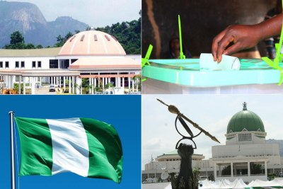 Aso Villa, presidential residence, National Assembly, right (file photo)
