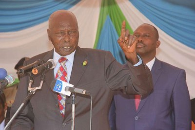 Retired President Daniel Moi addresses a gathering during the opening of Trans National Bank in Elgeyo-Marakwet County on January 23, 2015. He believed that those agitating for multipartyism were not doing it for the good of the country.