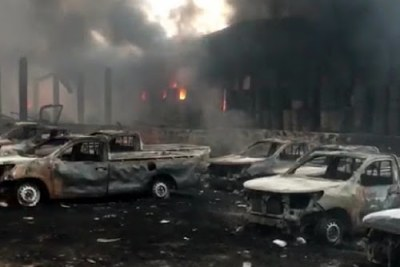 Vehicles in a warehouse of the Independent National Electoral Commission in Kinshasa were destroyed by a fire on December 13, 2018.