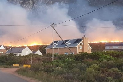 Smoke rises from the wildfire in Betty's Bay.