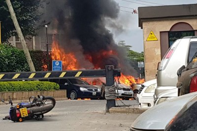 Scene from attack on luxury hotel and office complex in Nairobi