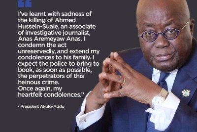 Ghanaian President Nana Akufo-Addo posted on Twitter that he expected the police to swiftly bring the perpetrators to justice.