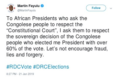 A tweet by presidential runner-up Martin Fayulu on January 21, 2019.
